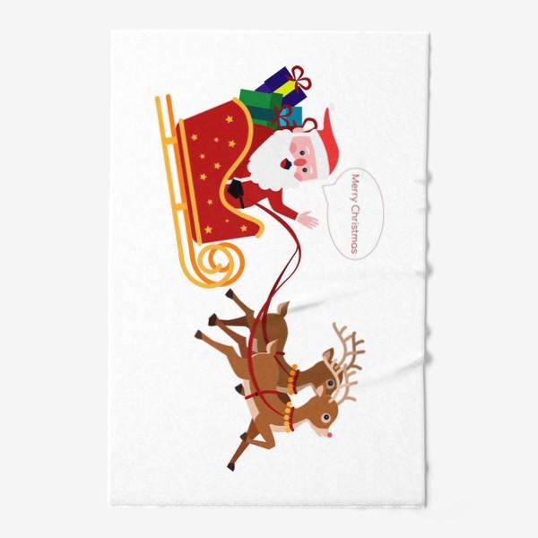 Полотенце «Новый год. Санта с оленями»