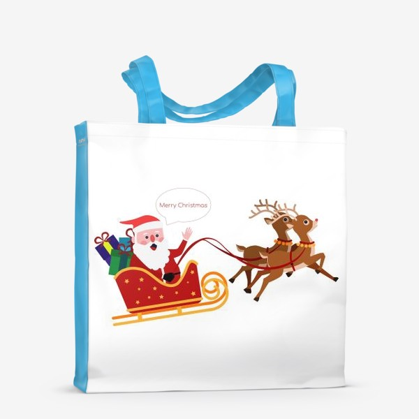 Сумка-шоппер «Новый год. Санта с оленями»