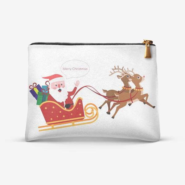 Косметичка «Новый год. Санта с оленями»
