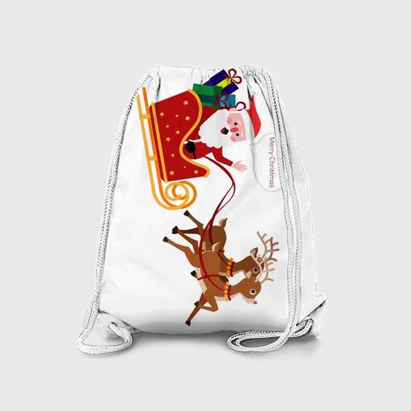 Рюкзак «Новый год. Санта с оленями»