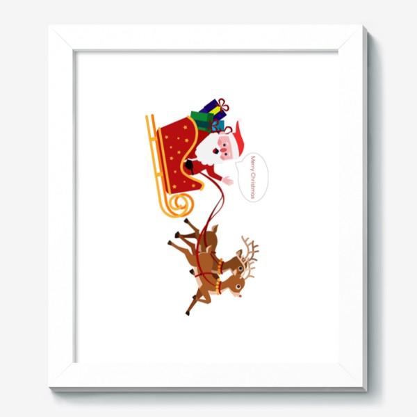 Картина «Новый год. Санта с оленями»