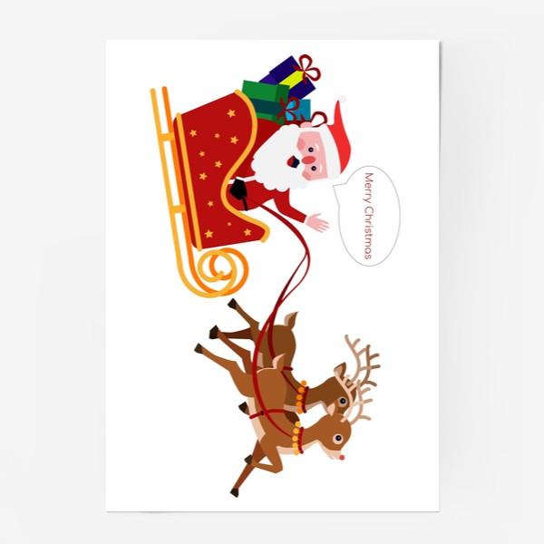 Постер «Новый год. Санта с оленями»