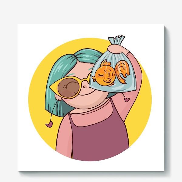 Холст «Девочка с рыбкой»
