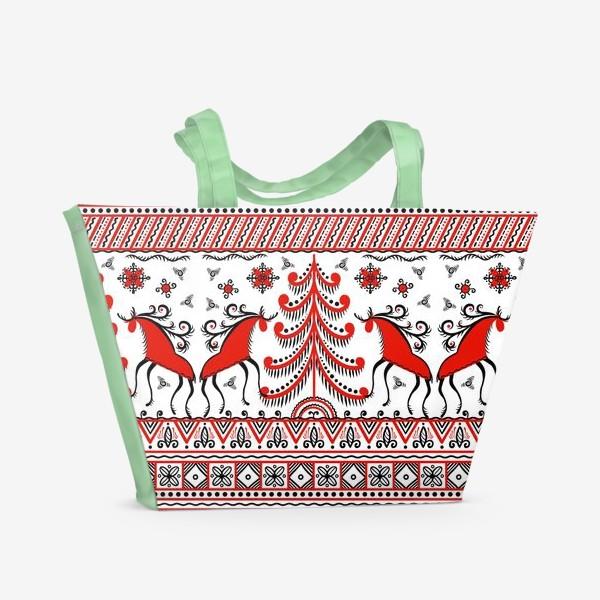 Пляжная сумка «Мезенская роспись. Русский фольклорный орнамент. Олени, ели, солнце. »