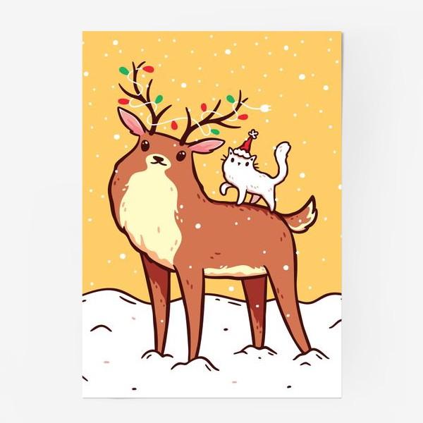 Постер «Кавайный Кот Мороз Сидит на Олене с Гирляндой на Рогах, Зима, Снегопад»