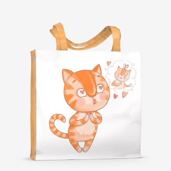 Сумка-шоппер «Котик Кексик влюблен»