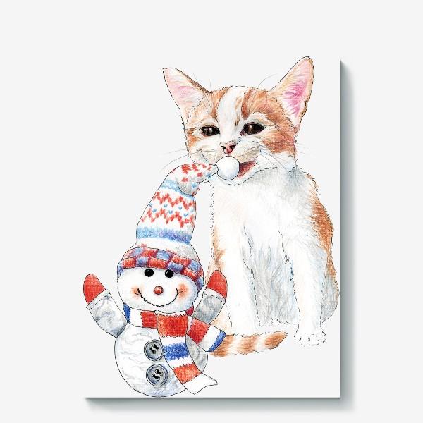Холст «котенок со снеговиком»