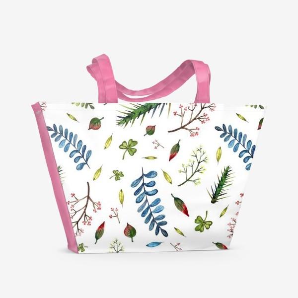 Пляжная сумка «Паттерн Листья и ветки»