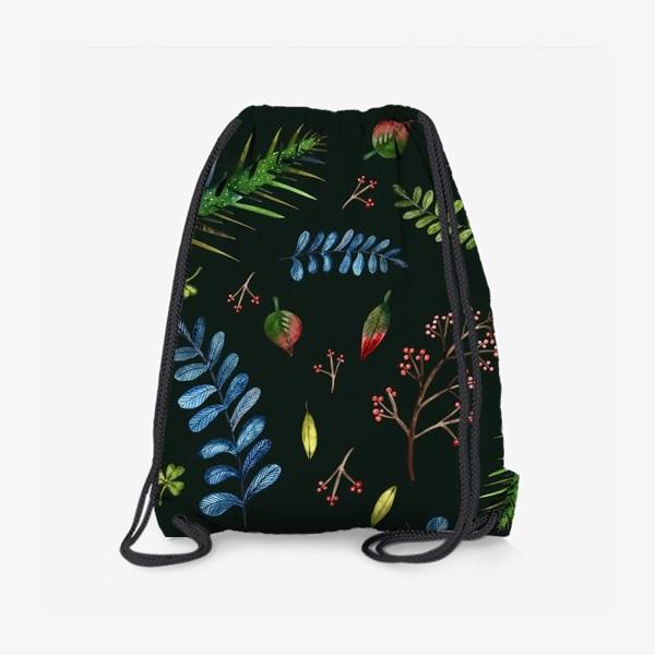Рюкзак «Листья и ветки на темно-зеленом фоне»