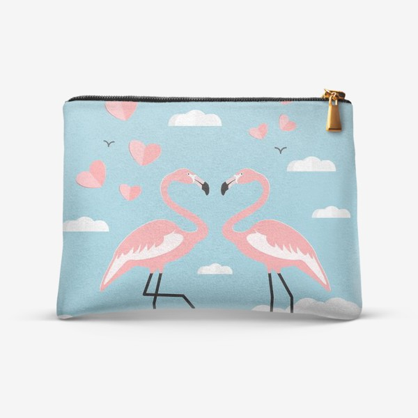 Косметичка «Влюбленные тропические фламинго на облаках »