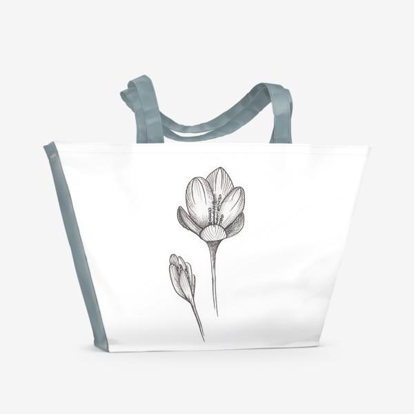 Пляжная сумка «Скетч цветок2»