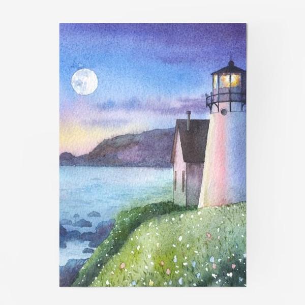 Постер «Маяк, луна, море,  ночь»