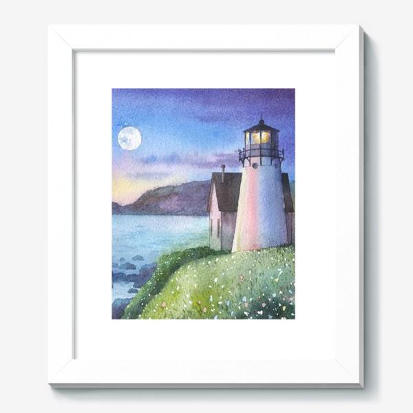 Картина «Маяк, луна, море,  ночь»