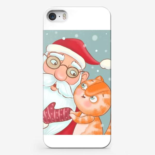 Чехол iPhone «Дед Мороз и котик»
