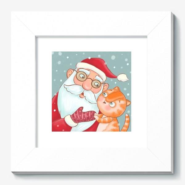 Картина «Дед Мороз и котик»