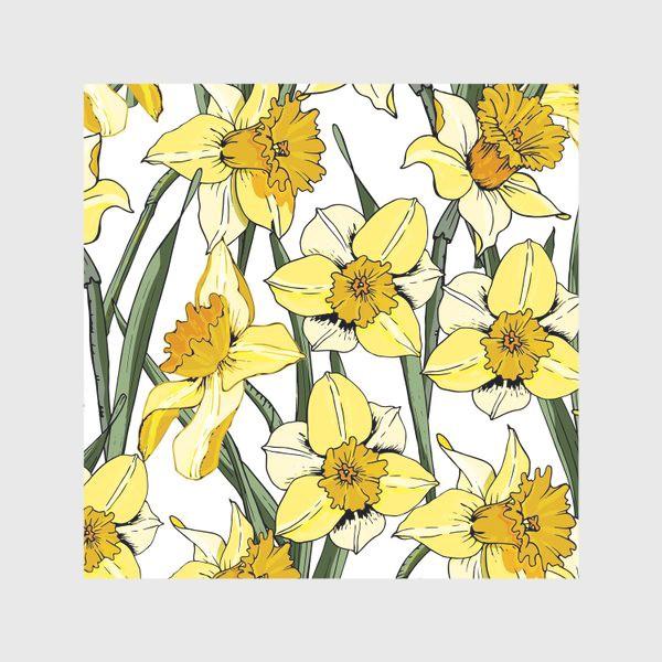 Скатерть «Нарциссы пасха желтые на белом фоне»
