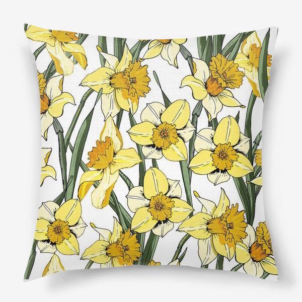 Подушка «Нарциссы пасха желтые на белом фоне»