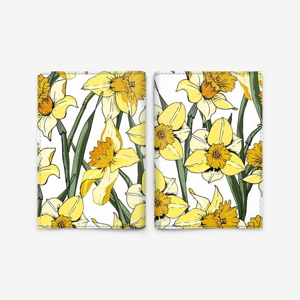 Обложка для паспорта «Нарциссы пасха желтые на белом фоне»