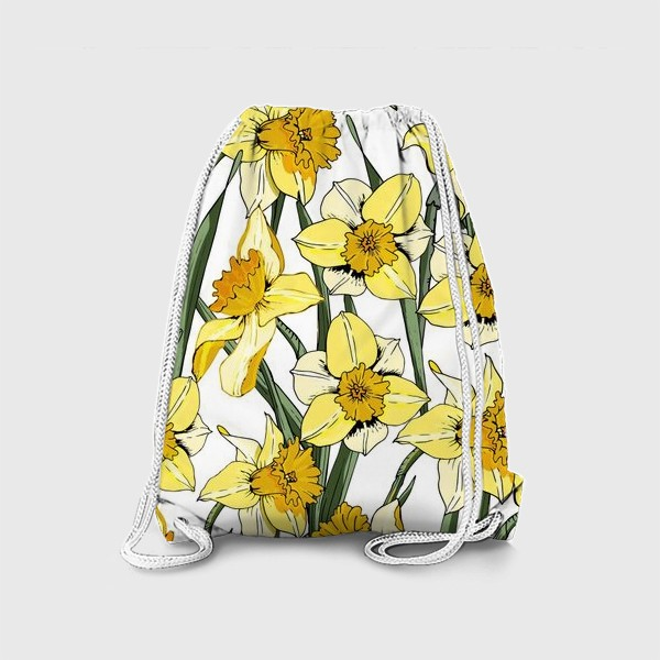 Рюкзак «Нарциссы пасха желтые на белом фоне»