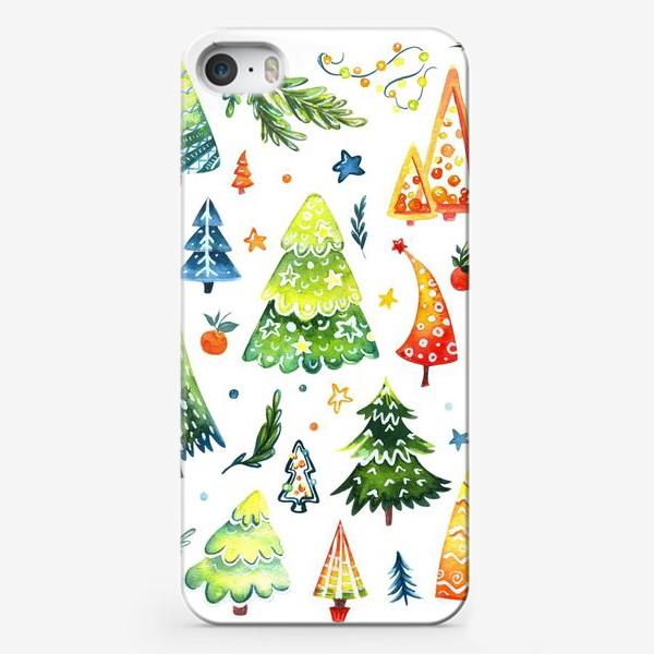 Чехол iPhone «Акварельные Ёлочки»