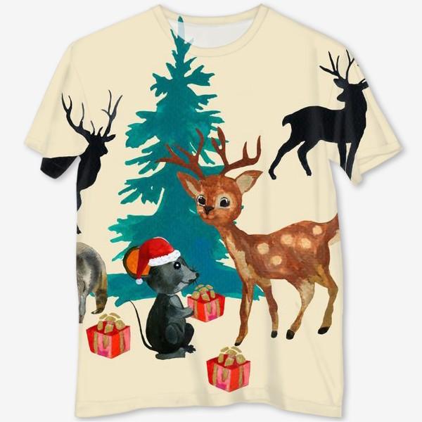 Футболка с полной запечаткой «Christmas at the forest animals»