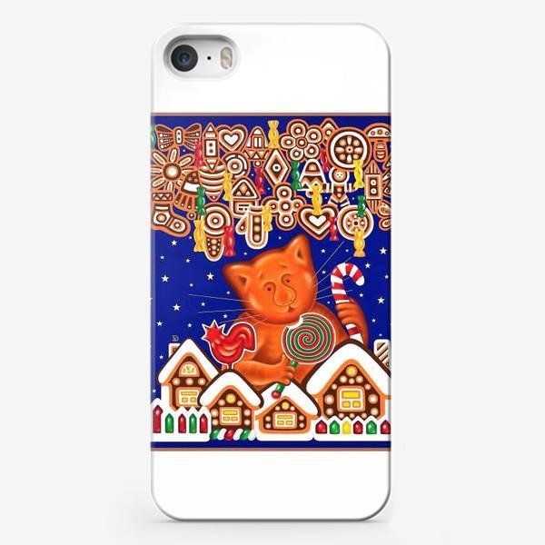 Чехол iPhone «Пряничный кот на белом фоне»