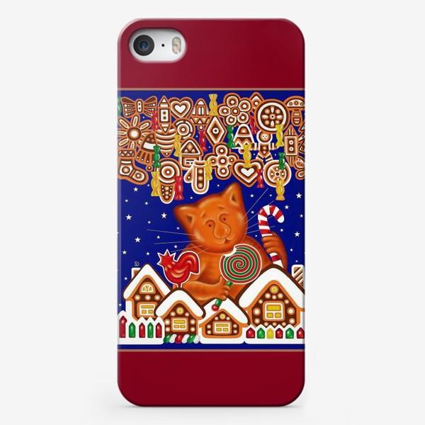 Чехол iPhone «Сладкая сказка, или Пряничный кот на вишневом фоне»
