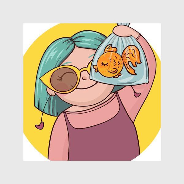 Шторы «Девочка с рыбкой»