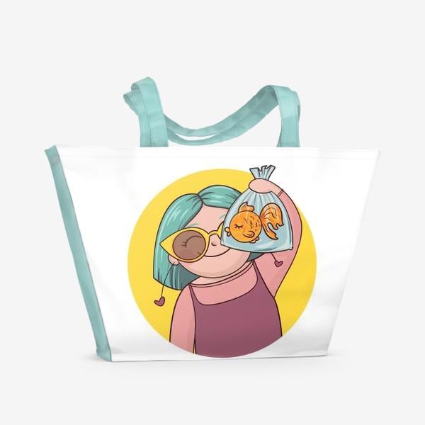 Пляжная сумка «Девочка с рыбкой»