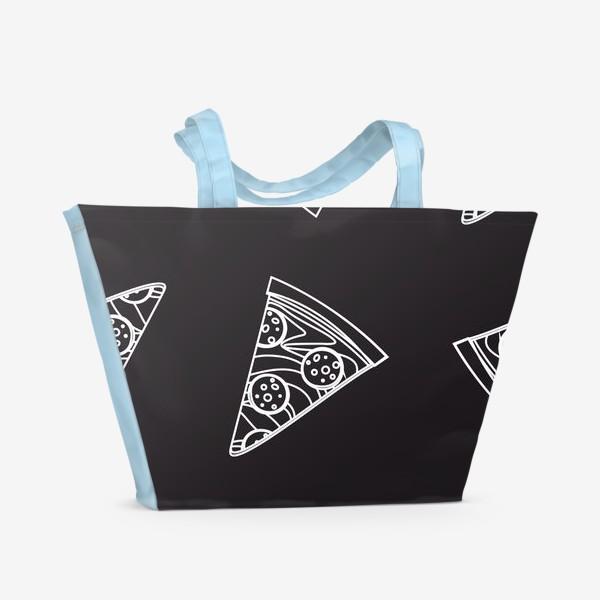 Пляжная сумка «Пицца рисунок мелом»