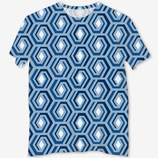 Футболка с полной запечаткой «Синяя геометрия»