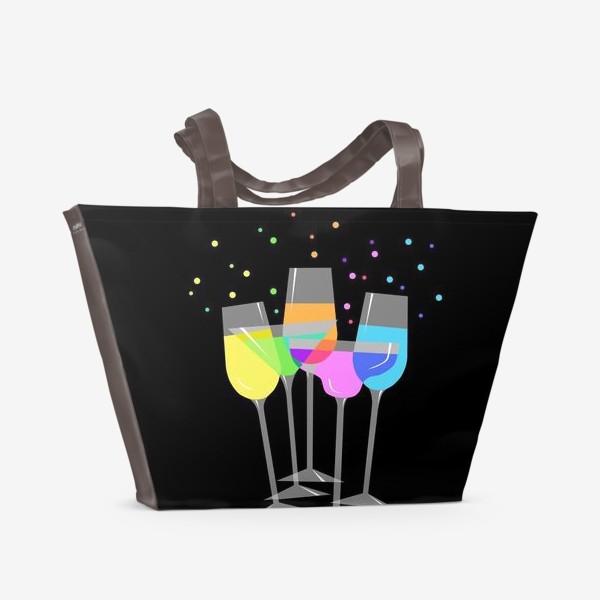 Пляжная сумка «Бокалы на чёрном фоне»