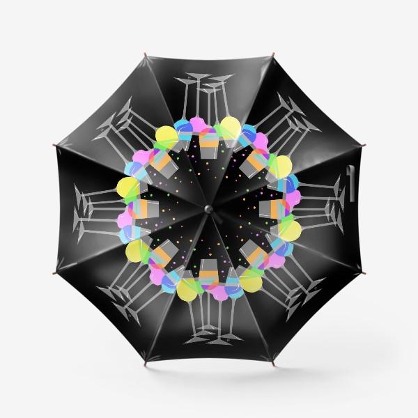 Зонт «Бокалы на чёрном фоне»