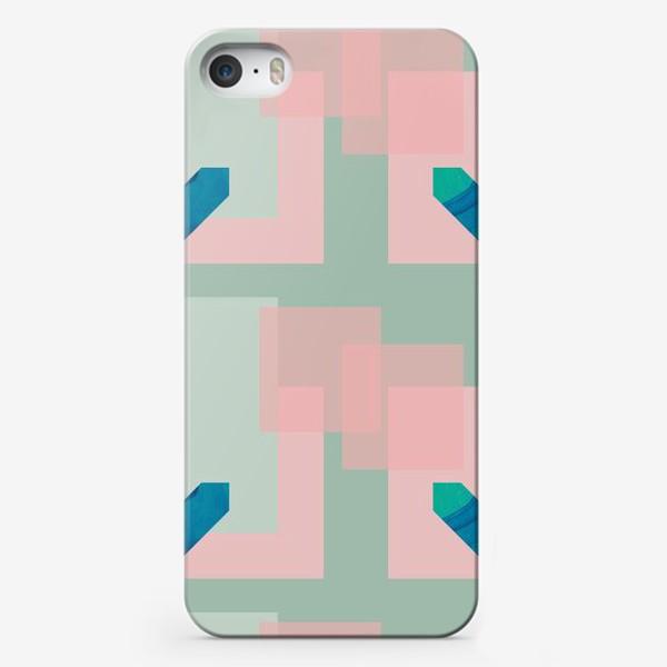 Чехол iPhone «Синие сердца на фоне квадратов»