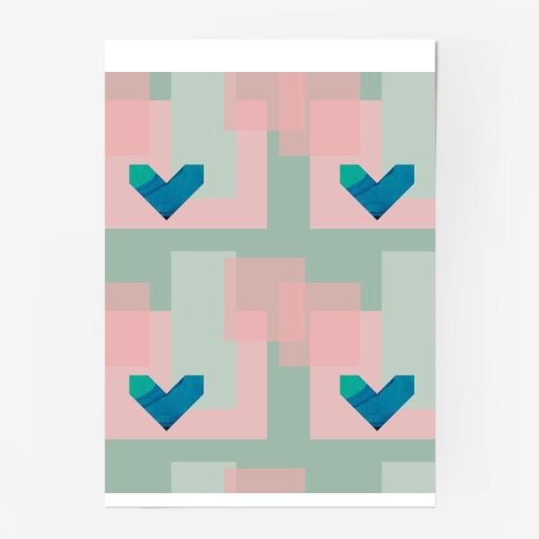 Постер «Синие сердца на фоне квадратов»