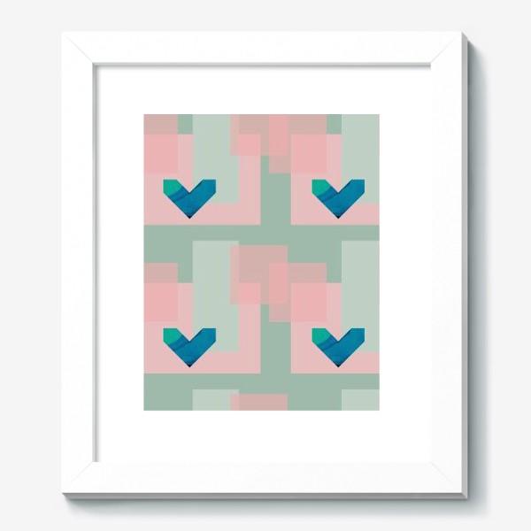 Картина «Синие сердца на фоне квадратов»