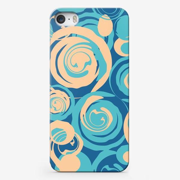 Чехол iPhone «абстрактный фон круги и спирали на синем фоне»