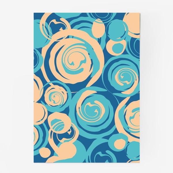 Постер «абстрактный фон круги и спирали на синем фоне»