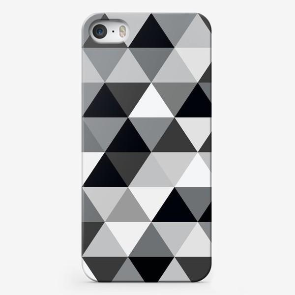Чехол iPhone «Монохромный паттерн из треугольников»