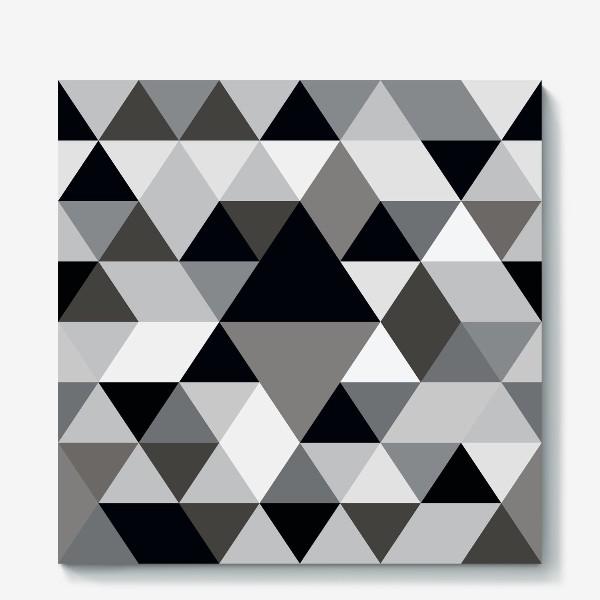Холст «Монохромный паттерн из треугольников и ромбов»