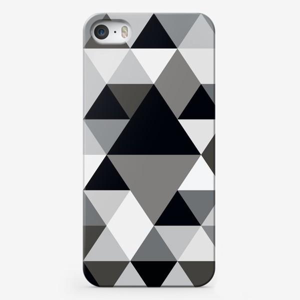 Чехол iPhone «Монохромный паттерн из треугольников и ромбов»