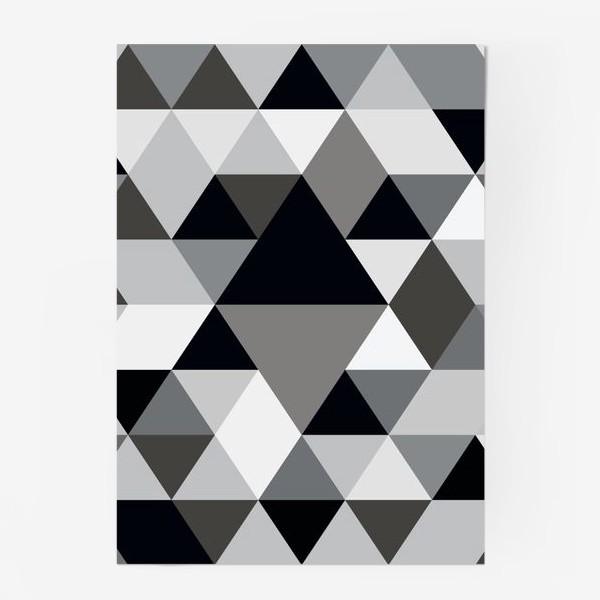 Постер «Монохромный паттерн из треугольников и ромбов»