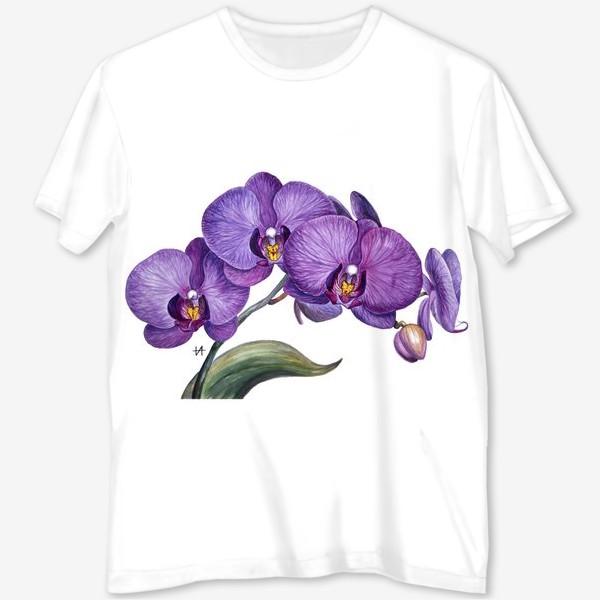 Футболка с полной запечаткой «Ветка орхидеи»