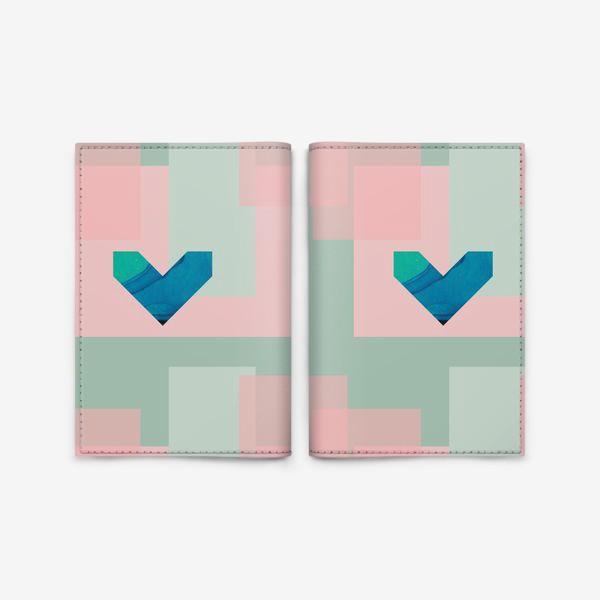 Обложка для паспорта «Синие сердца на фоне квадратов»