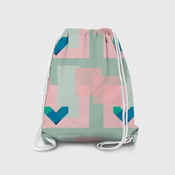 Рюкзак «Синие сердца на фоне квадратов»