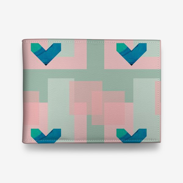 Кошелек «Синие сердца на фоне квадратов»