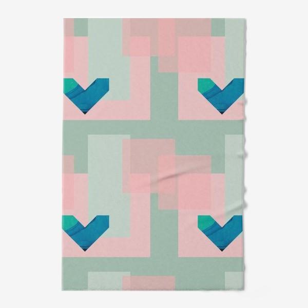 Полотенце «Синие сердца на фоне квадратов»