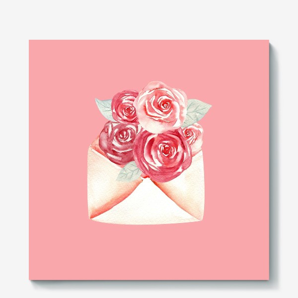 Холст «Рисунок на день Валентина с романтическими цветами в конверте»