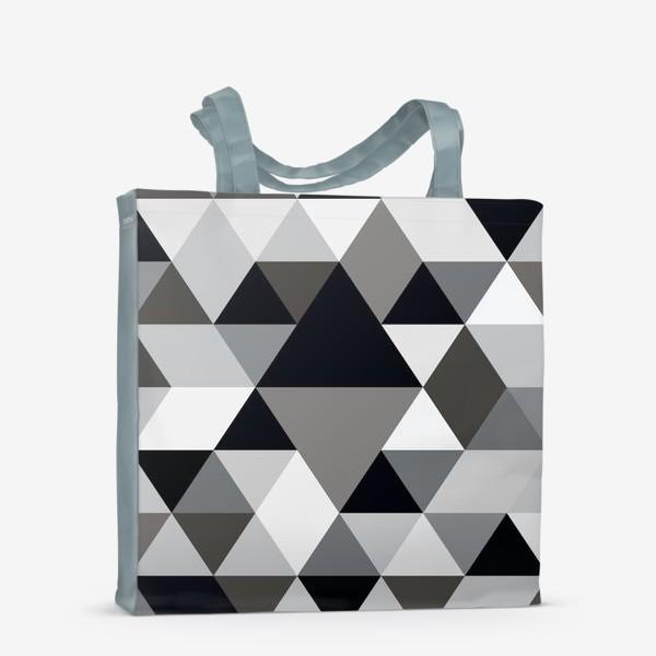 Сумка-шоппер «Монохромный паттерн из треугольников и ромбов»