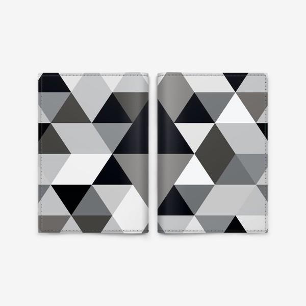 Обложка для паспорта «Монохромный паттерн из треугольников и ромбов»